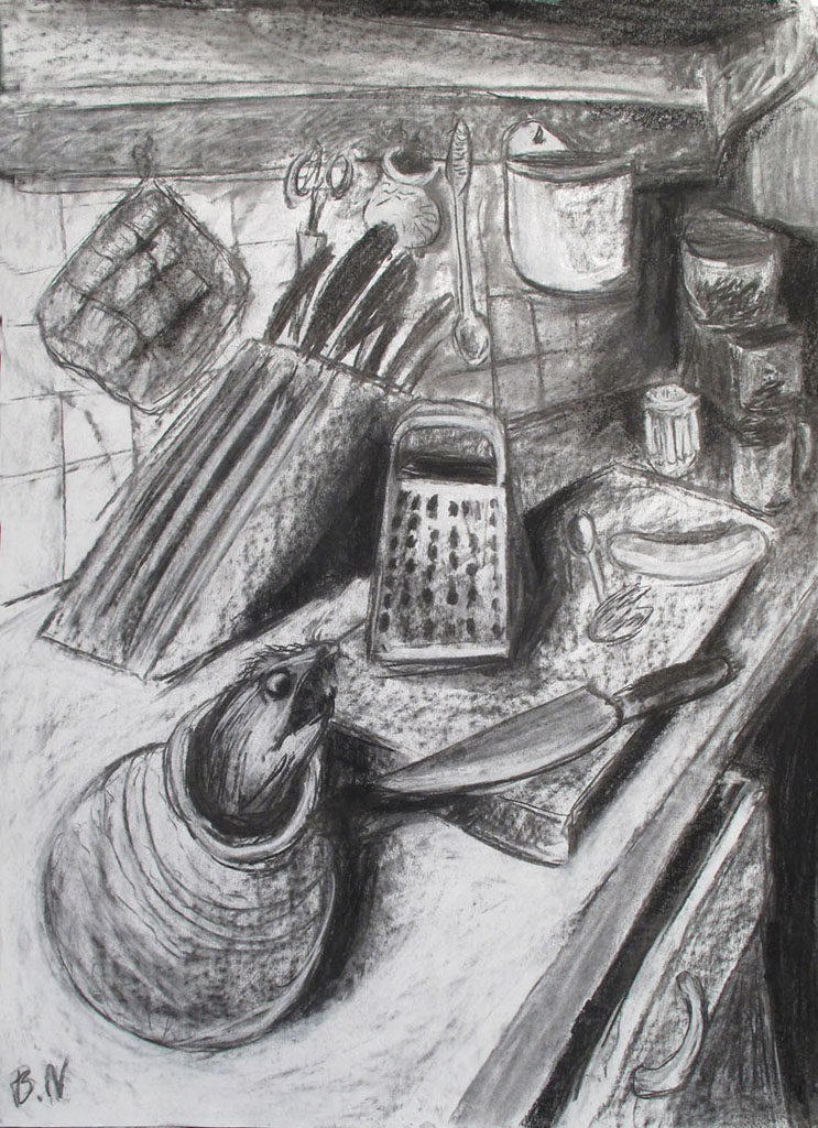 """""""Der Koch ist tot"""" 100x70cm Kreide/Kohle auf Papier 2011"""