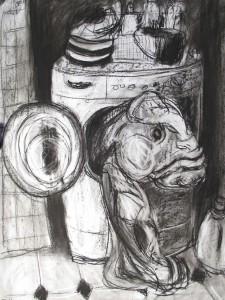 """""""Der ungebetene Gast"""" 100x70cm Kreide/Kohle auf Papier 2011"""
