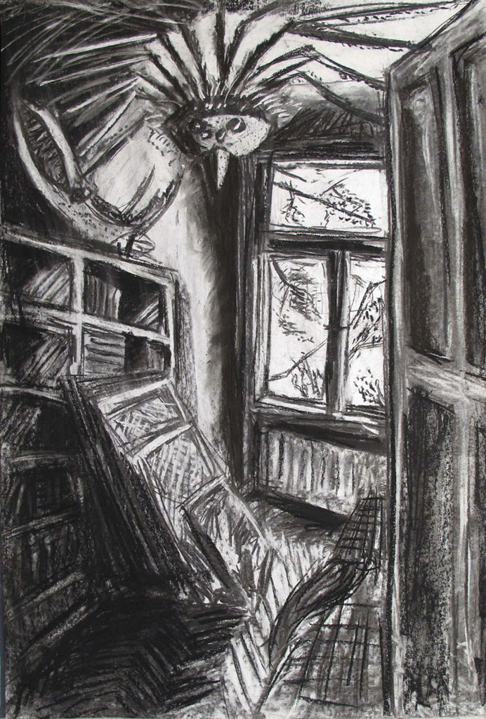 """Gästezimmer"" 100x70cm Kreide/Kohle auf Papier 2011"
