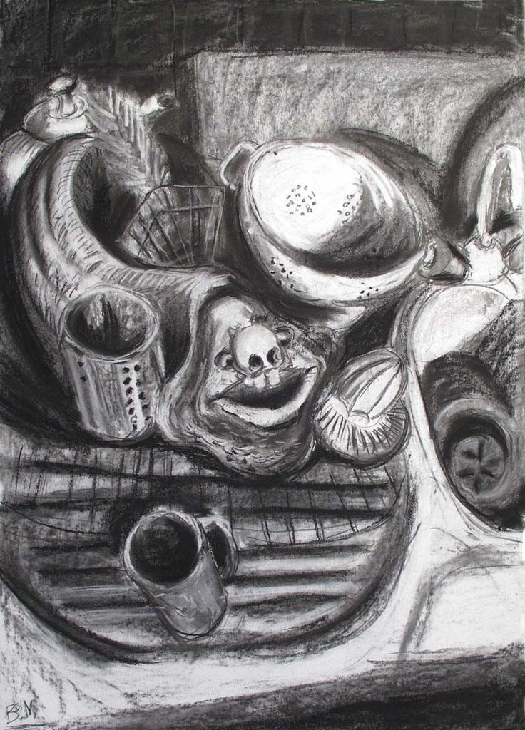 """Lurch"" 100x70cm Kreide/Kohle auf Papier 2011"