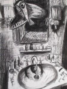 """See Genezareth"" 100x70cm Kreide/Kohle auf Papier 2011"