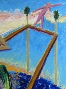 """""""Artischokentanz"""" 70x100cm Oelpastell auf Papier 2013"""