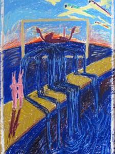 """""""Vermeers Waschmaschine"""" 100x210 Triptichon Oelpastell auf Papier 2013"""