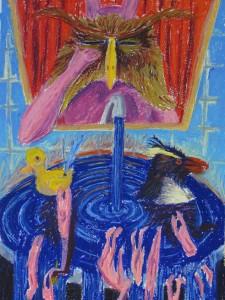 """""""Houdinis Badewanne"""" 100x70cm Oelpastell auf Papier 2013"""