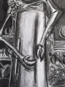 """""""Mitternachtsimbiss"""" 100x70cm Kreide/Kohle auf Papier 2011"""