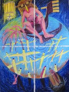 """""""Weltenbummler"""" 200x140 cm Quadrichon Oelpastell auf Papier 2013"""
