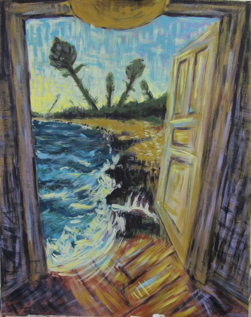 """A distant room"" 94x70 cm Ei-tempera auf Leinwand 2014"