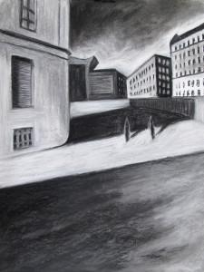 """""""Around the corner"""" 50.40 cm Kohle und Pastell auf Papier 2016"""