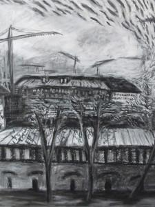 """""""Schiffswerft"""" 100x150 cm Kreide/Kohle auf Papier 2016"""