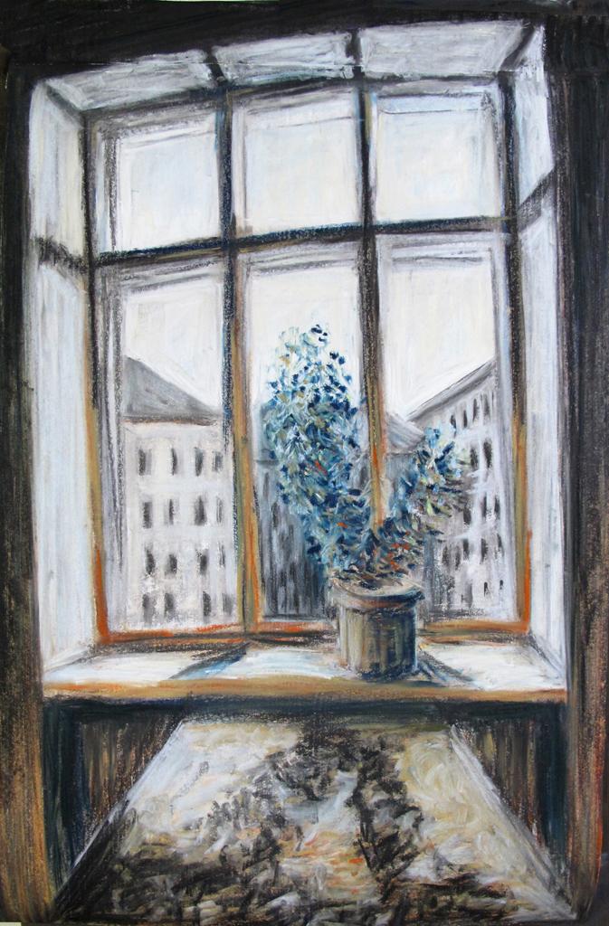 """Fenstertag"" 100x70 cm Kreide/Kohle auf Papier 2016"