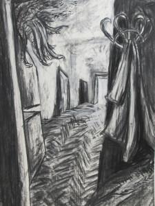 """Geistergang"" 100x70 cm Kreide/Kohle auf Papier 2016"