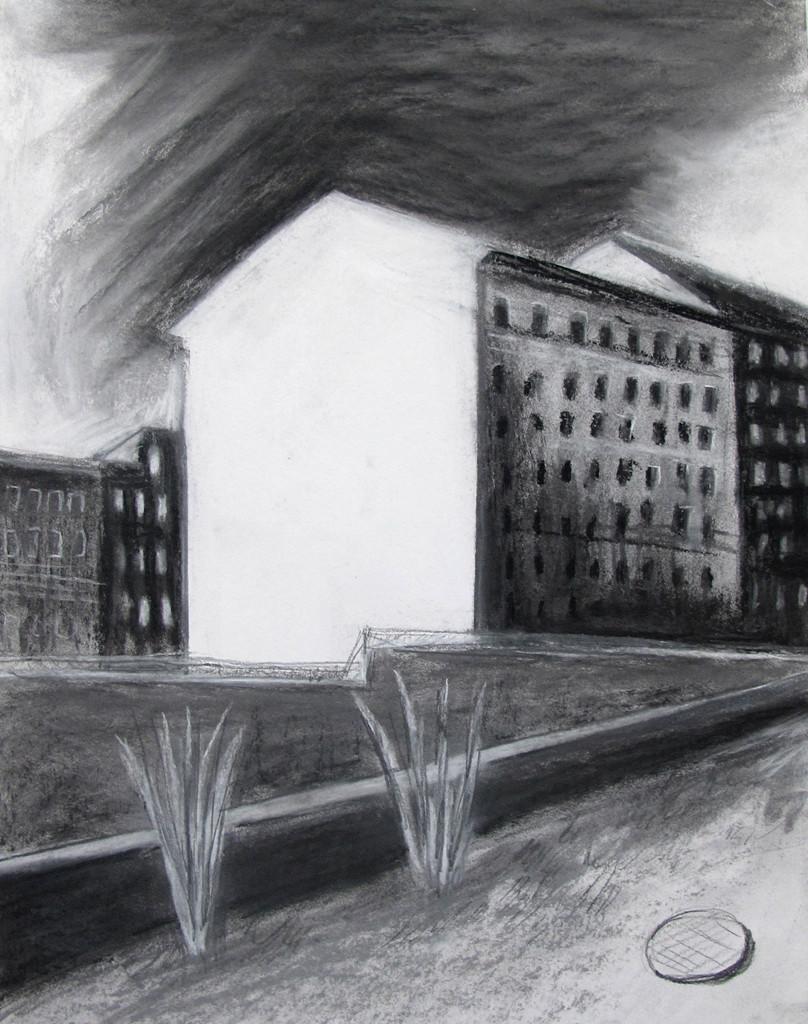 """""""Ein Haus in der Straße"""" 40.30 cm Kohle und Pastell auf Papier 2016"""