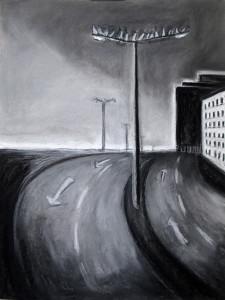 """""""Highway"""" 50.40 cm Kohle und Pastell auf Papier 2016"""