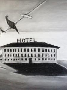 """Hotel de Ville"" 100.150 cm kohle und Kreide auf Papier 2016"