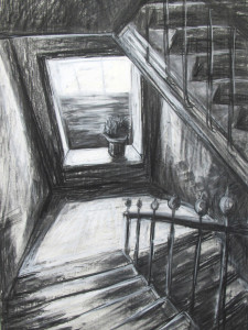"""Stiegenhaus"" 100x70 cm Kreide/Kohle auf Papier 2016"