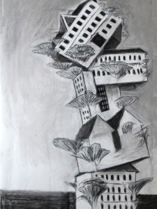 """""""On the brink"""" 140.100 cm kohle und Kreide auf Papier 2016"""