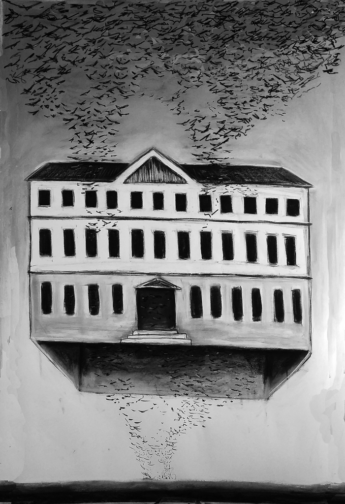 """The floating house"" 150.100 cm Kohle und Pastell auf papier 2016"