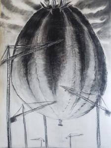 """""""UFO II"""" 150.100 cm Kohle und Pastell auf papier 2016"""