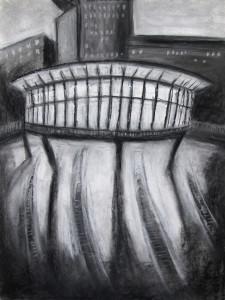 """""""UFO"""" 40.30 cm Kohle und Pastell auf Papier 2016"""