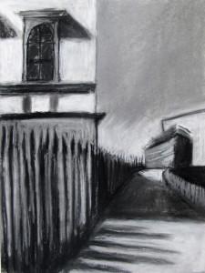 """""""Um die Ecke gedacht"""" 40.30 cm Kohle und Pastell auf Papier 2016"""