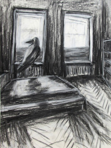"""Vogelhaus"" 100x70cm Kreide/Kohle auf Papier 2016"