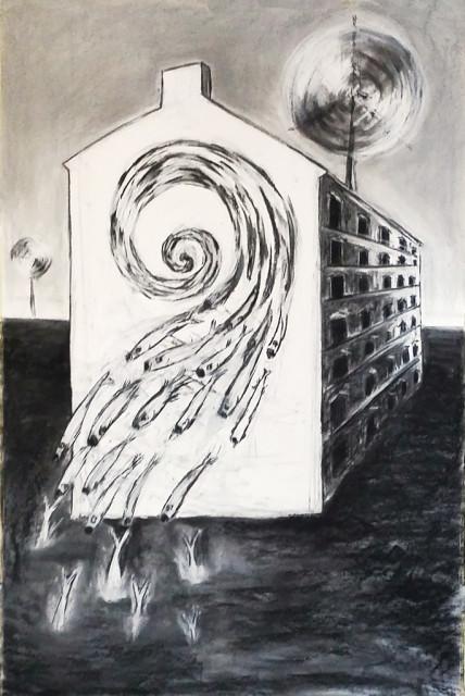 """The lighthouse"" 150.100 cm Kohle und Kreide auf Papier 2016"