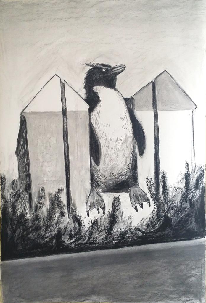 """""""Stuck in the middle"""" 150.100 cm Kohle und kreide auf Papier 2016"""